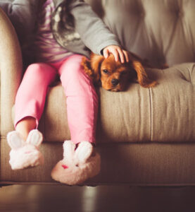 girl and dog on sofa in allergy-proof home