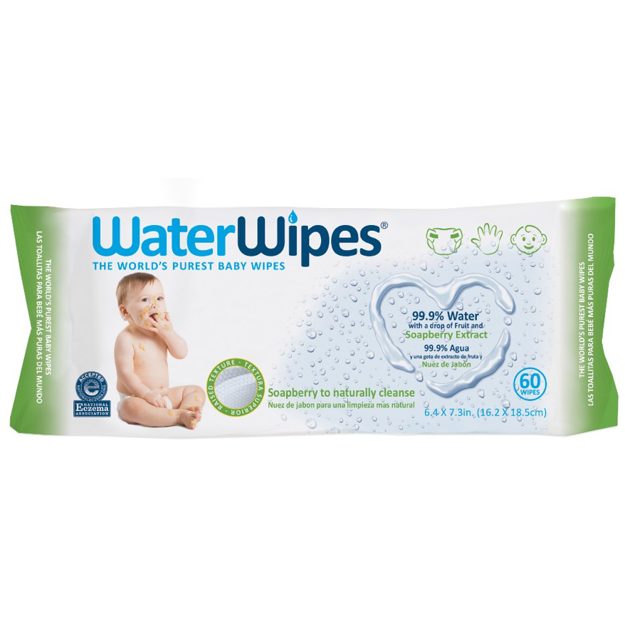 Image of WaterWipes Hand, Face, Baby Textured Wipes with Soapberry Extract packaging