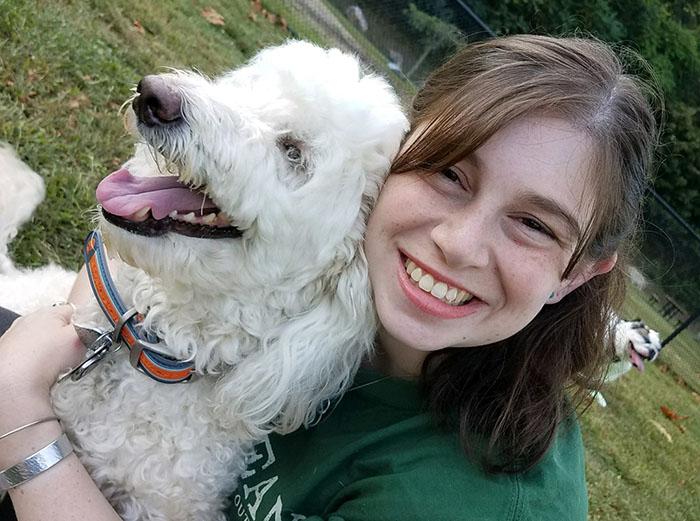 joan wanamaker, who has eczema, and her dog